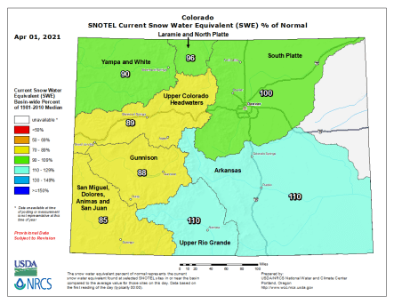 Colorado snowpack basin-filled map April 1, 2021 via the NRCS.