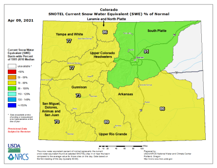 Colorado snowpack basin-filled map April 9, 2021 via the NRCS.