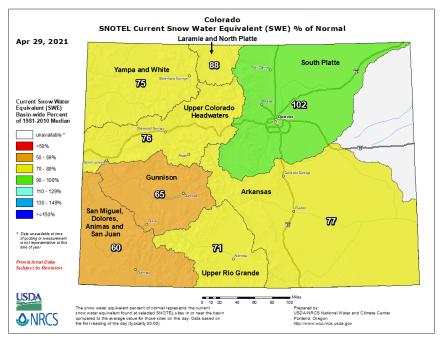 Colorado snowpack basin-filled map April 29, 2021 via the NRCS.