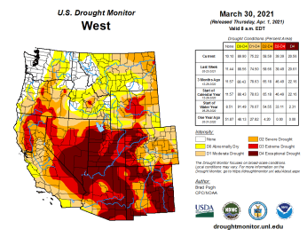West Drought Monitor March 30, 2021.