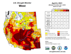 West Drought Monitor April 6, 2021.