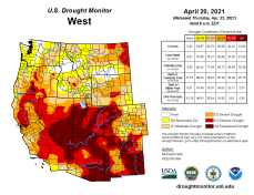 West Drought Monitor April 20, 2021.