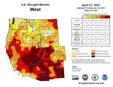 West Drought Monitor April 27, 2021.