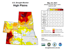 High Plains Drought Monitor map May 25, 2021.