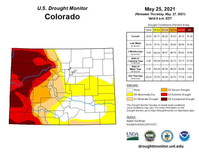 Colorado Drought Monitor map May 25, 2021.