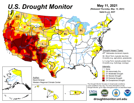 US Drought Monitor map May 11, 2021.