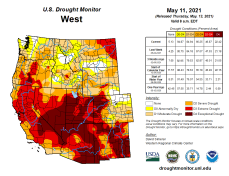West Drought Monitor map May 11, 2021.