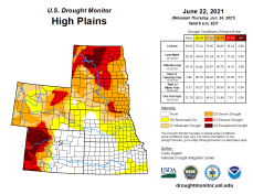High Plains Drought Monitor map June 22, 2021.