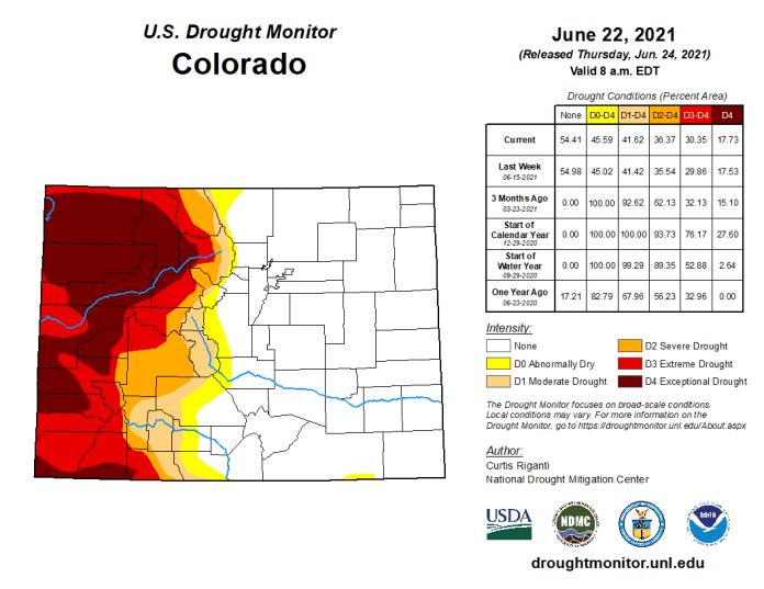 Colorado Drought Monitor map June 22, 2021.