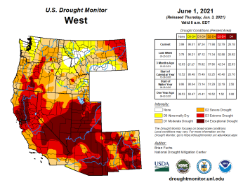 West Drought Monitor map June 1, 2021.