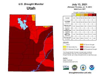 Utah Drought Monitor map July 13, 2021.