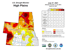 High Plains Drought Monitor map July 27, 2021.