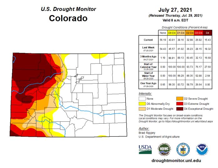 Colorado Drought Monitor map July 27, 2021.