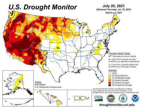 US Drought Monitor map July 20, 2021.