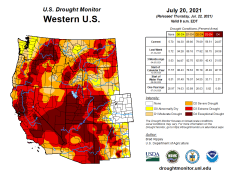 West Drought Monitor map July 20, 2021.