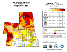 High Plains Drought Monitor map August 17, 2021.