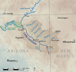 Map of the Little Colorado River basin in Arizona and New Mexico, USA. Made using USGS shaded relief data. By Shannon1 - Own work, CC BY-SA 4.0, https://commons.wikimedia.org/w/index.php?curid=48709569