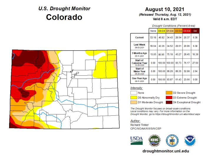 Colorado Drought Monitor map August 10, 2021.