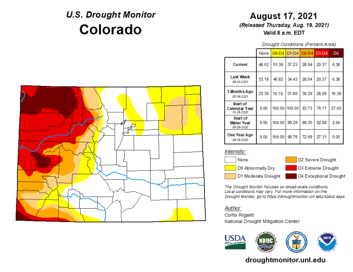 Colorado Drought Monitor map August 17, 2021.
