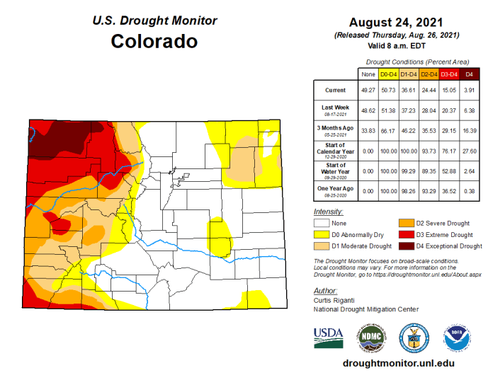 Colorado Drought Monitor August 24, 2021.