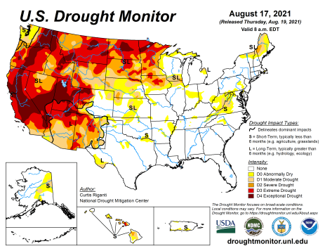 US Drought Monitor map August 17, 2021.