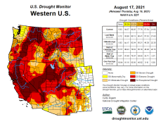 West Drought Monitor map August 17, 2021.