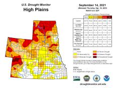 High Plains Drought Monitor map September 7, 2021.