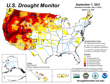 US Drought Monitor map September 7, 2021.