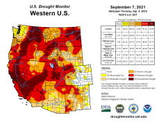 West Drought Monitor map September 7, 2021.