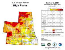 High Plains Drought Monitor map October 12, 2021.
