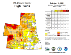 High Plains Drought Monitor map October 19, 2021.