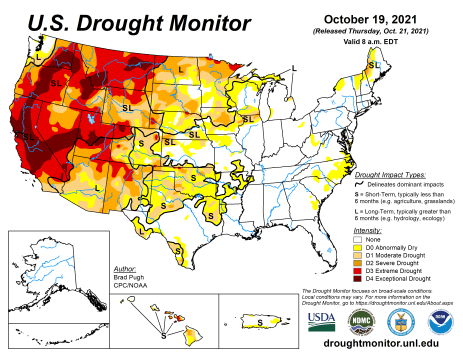 US Drought Monitor map October 19, 2021.
