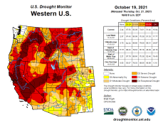 West Drought Monitor map October 19, 2021.