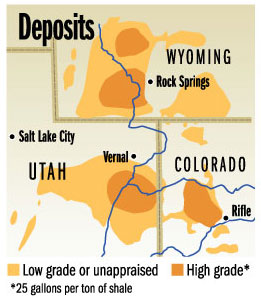 Oil shale deposits Colorado, Wyoming and Utah