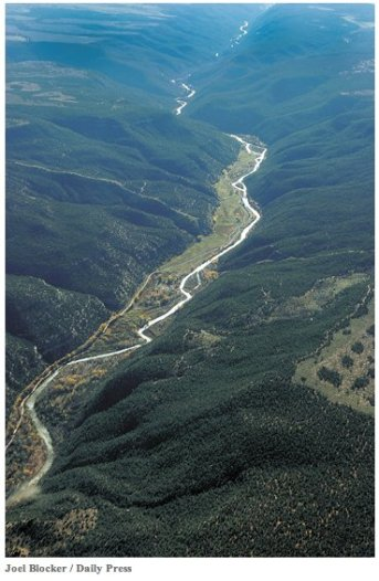 Aerial view of the San Miguel River