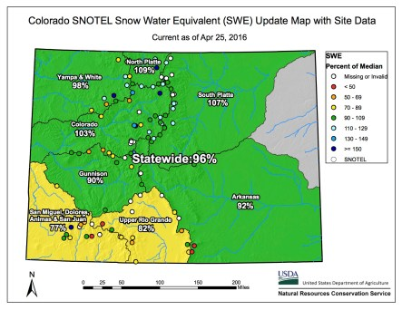 Statewide snowpack map April 25, 2016 via the NRCS.