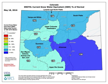 Statewide snowpack map May 18, 2016 via the NRCS.