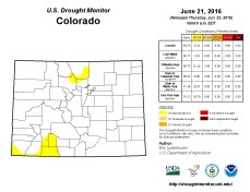 Colorado Drought Monitor June 21, 2016.