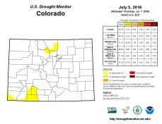 Colorado Drought Monitor July 5, 2016.