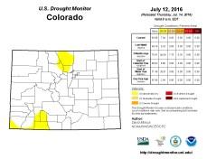 Colorado Drought Monitor July 12, 2016.