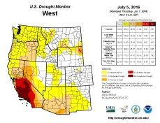 West Drought Monitor July 5, 2016.