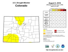 Colorado Drought Monitor August 2, 2016.