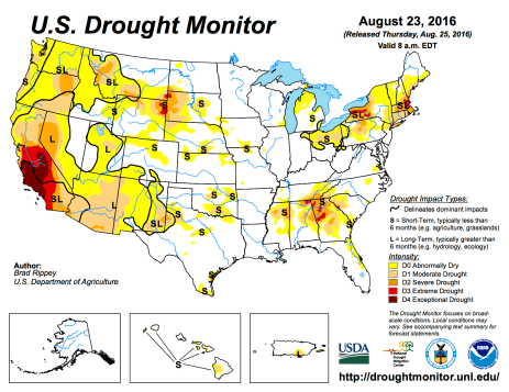 US Drought Monitor August 23, 2016.