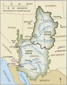 The Colorado River is about 1,400 miles long and flows through seven U.S. states and into Mexico. The Upper Colorado River Basin supplies approximately 90 percent of the water for the entire basin. It originates as rain and snow in the Rocky and Wasatch mountains. Credit USGS.