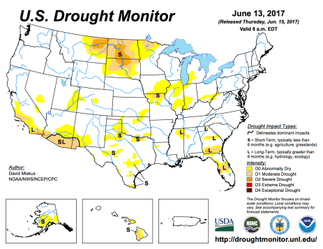 US Drought Monitor June 13, 2017.