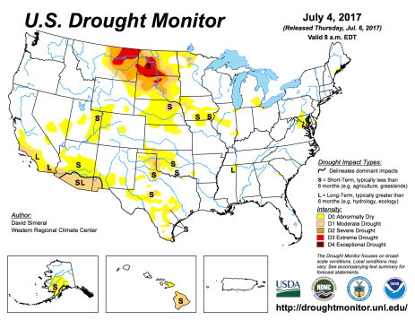 US Drought Monitor July 4, 2017.