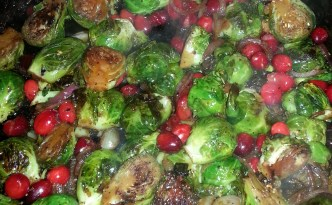 Brussel Sprouts with Red Onion and Cranberries