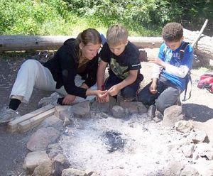 Amanda and Kids inspecting nature