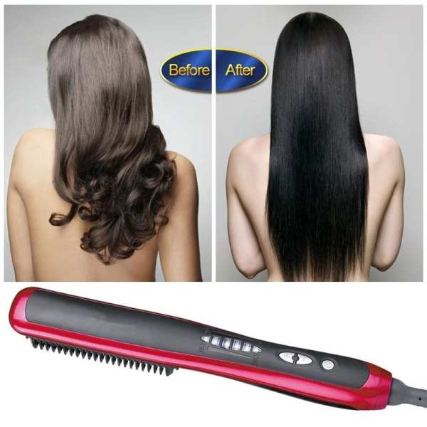 Professional Ceramic Electric Beard Brushes Men Quick Beard Straightener Styler Comb Multifunctional Hair Curling Show Cap