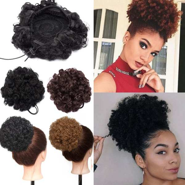 Snoilite 3 types African Afro Bun Short Curly Wrap Drawstring Puff Ponytail Bun Extension Synthetic Hair